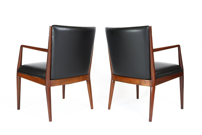 Mid-20th Century Pair of Danish Armchairs in Mahogany Wood and Leather Seating, 1960s For Sale