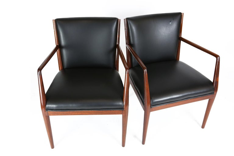 Pair of Danish Armchairs in Mahogany Wood and Leather Seating, 1960s For Sale 1