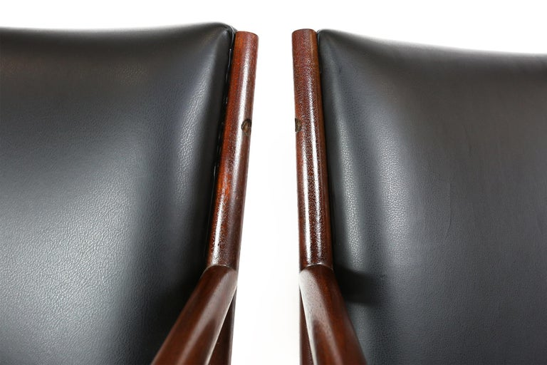 Pair of Danish Armchairs in Mahogany Wood and Leather Seating, 1960s For Sale 4