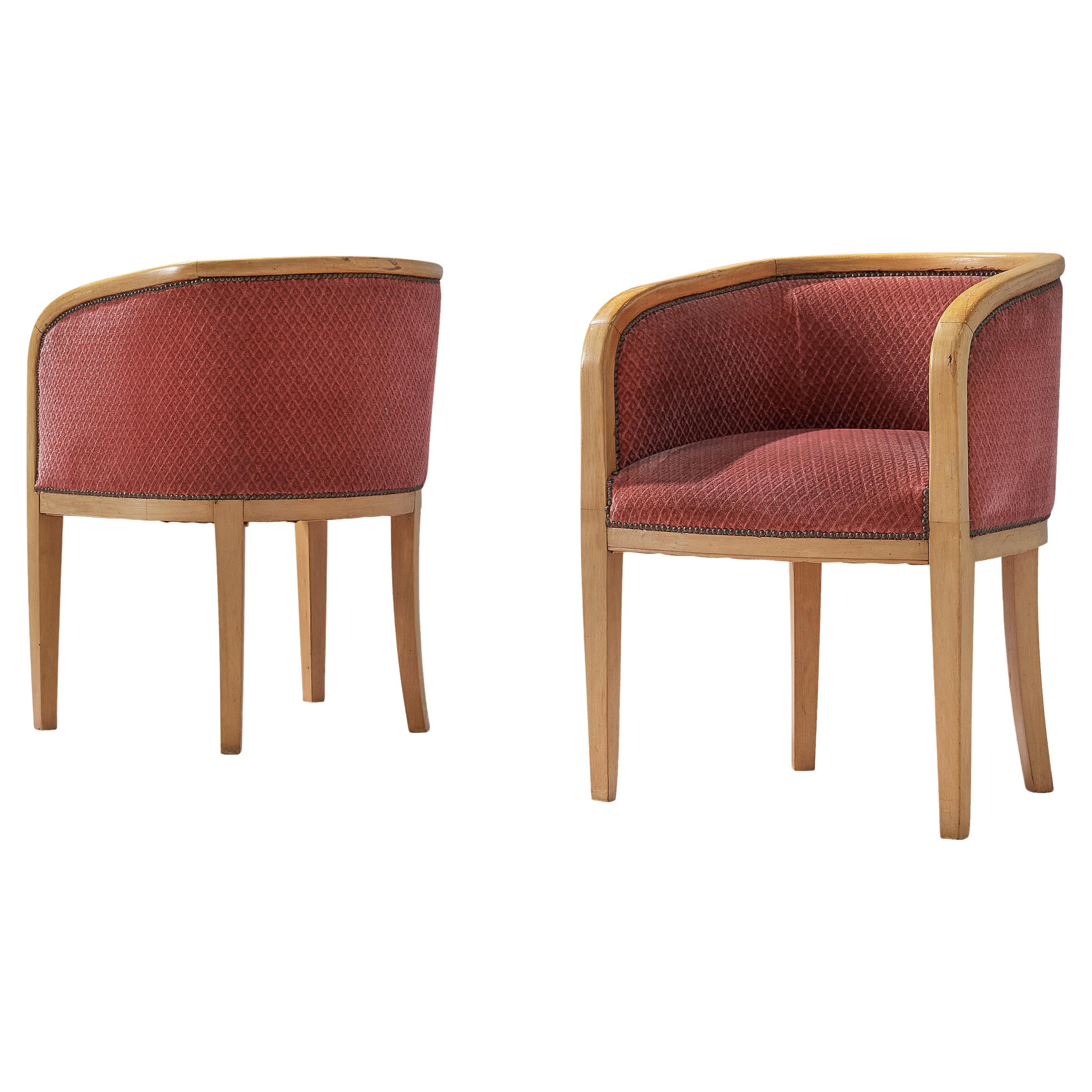 Pair of Danish Armchairs in Soft Pink Textured Fabric