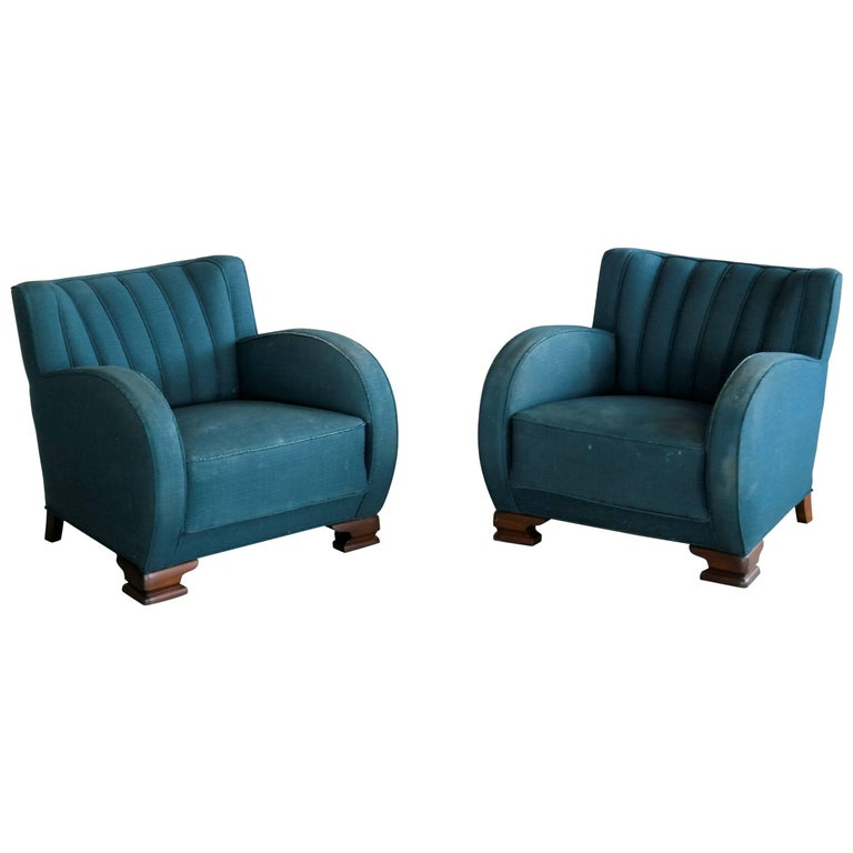 Pair of Danish Art Deco Club Chairs, 1930s, 1920s For Sale