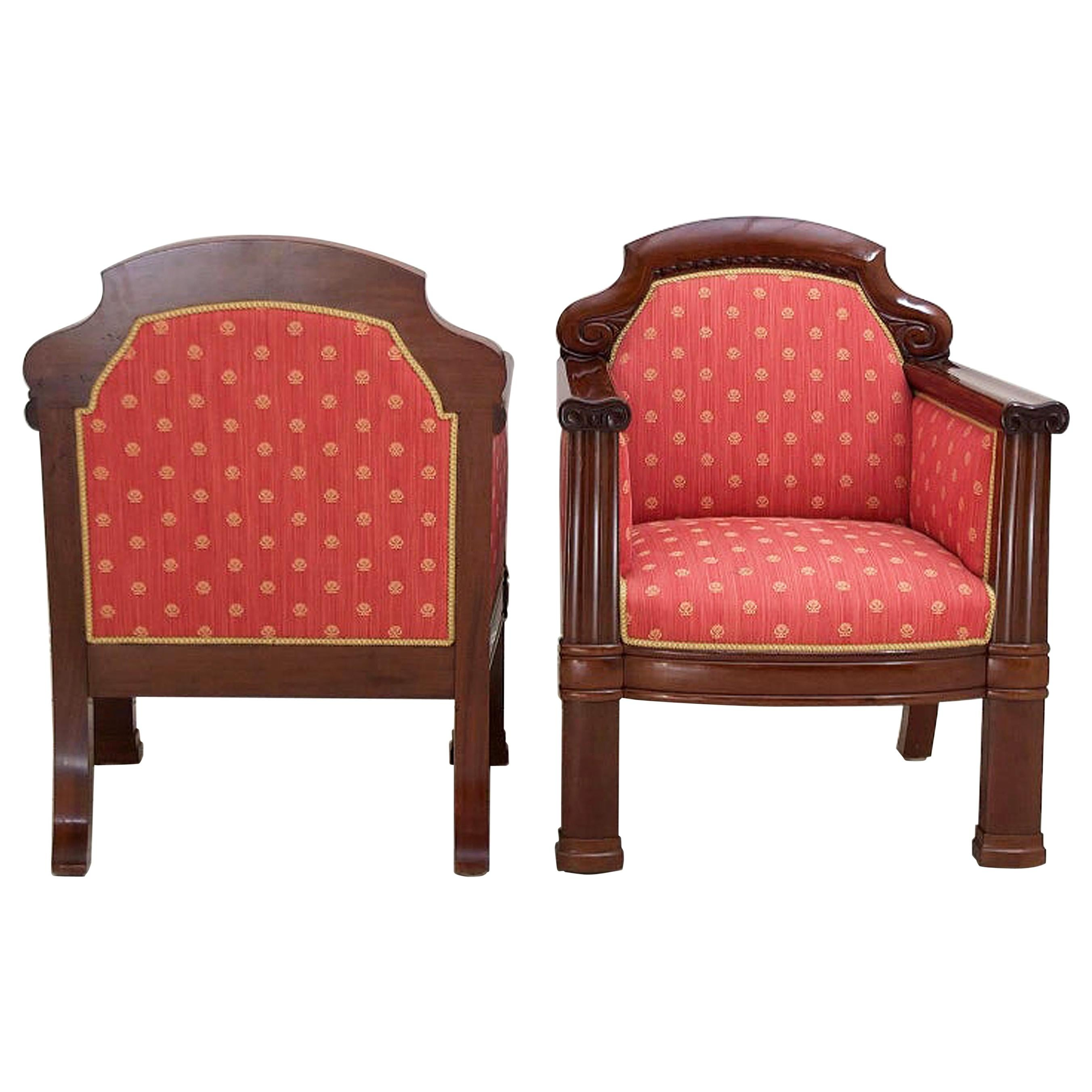 Pair of Danish Art Deco Club Chairs in Mahogany with Upholstery, circa 1920