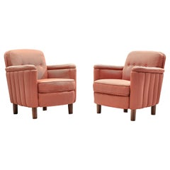 Pair of Danish Art Deco Easy Chairs in Pink Fabric