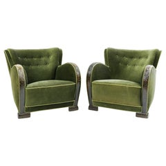 Pair of Danish Art Deco Lounge Chairs in the Manner of Fritz Hansen