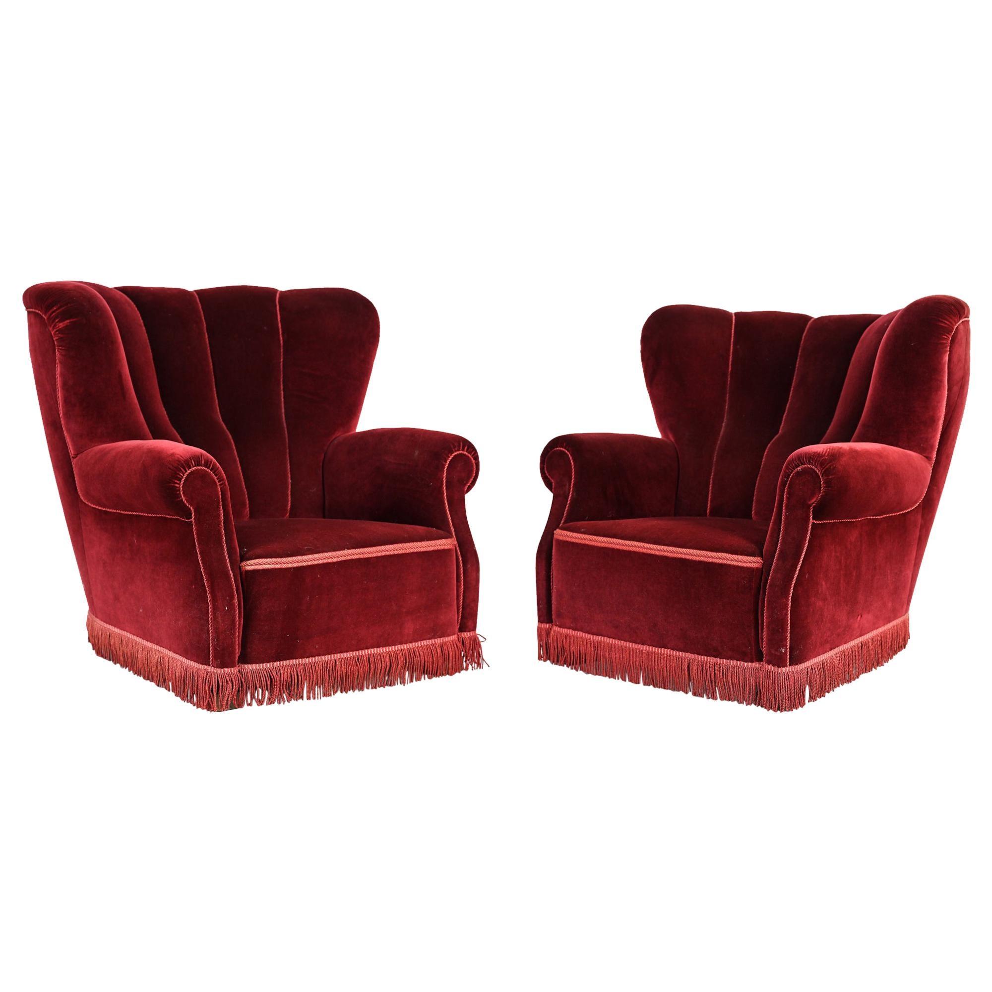 Pair of Danish Art Deco Red Velvet Club Chairs