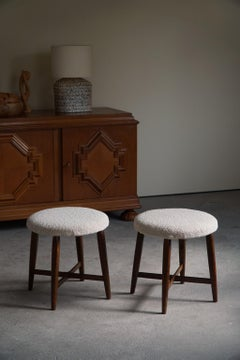 Pair of Danish Art Deco Stools with Four Legs, Reupholstered in Bouclé, 1930s