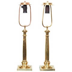 Pair of Danish Art Nouveau Brass Table Lamps