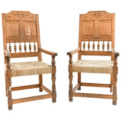 Pair of Danish Baroque Carved Oak Armchairs