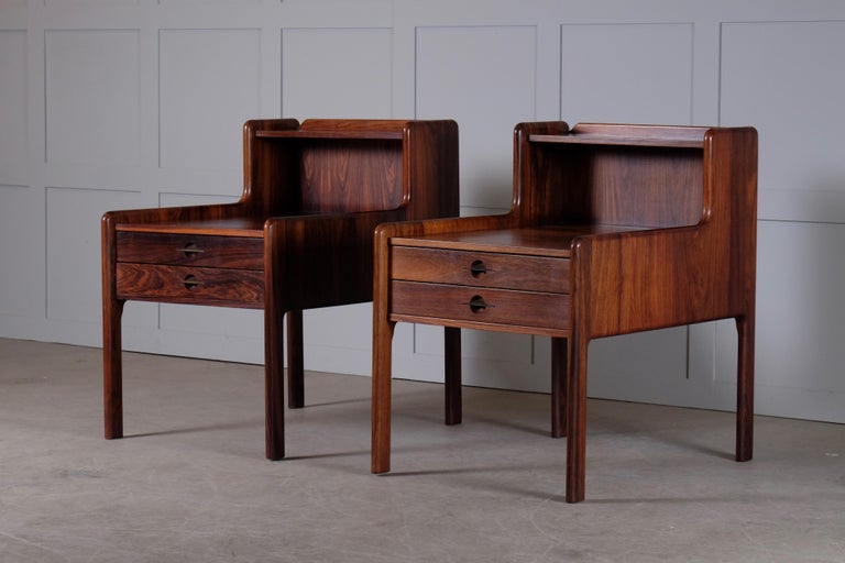 Pair of Danish Bedside Tables in Rosewood, 1960s For Sale 5