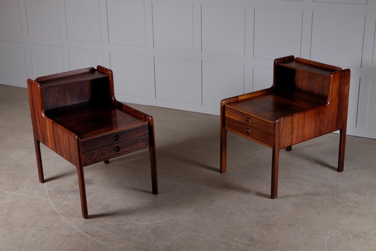 Mid-20th Century Pair of Danish Bedside Tables in Rosewood, 1960s For Sale
