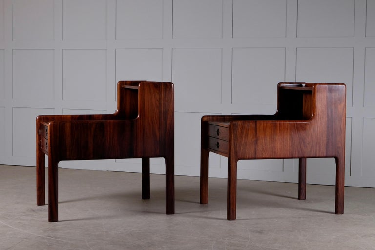 Pair of Danish Bedside Tables in Rosewood, 1960s For Sale 4