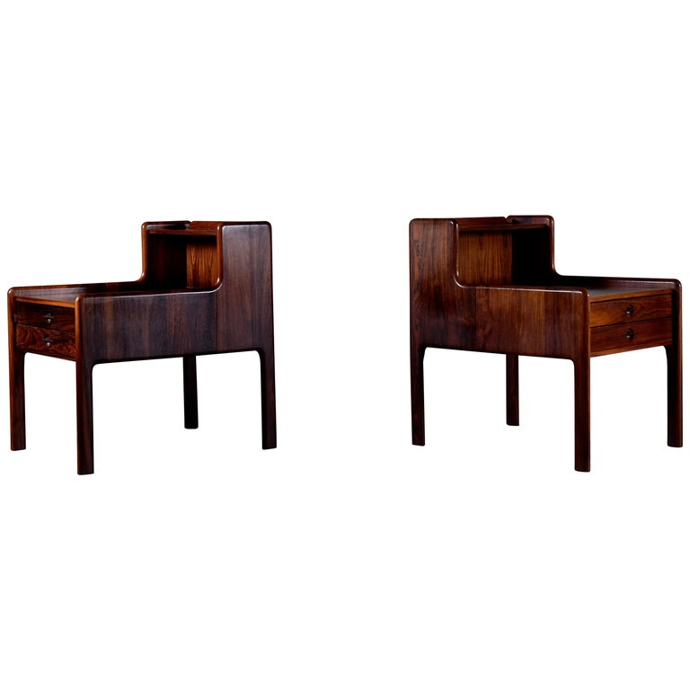 Pair of Danish Bedside Tables in Rosewood, 1960s For Sale