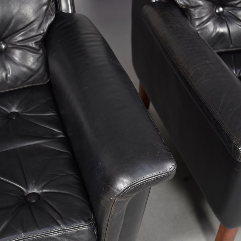 Pair of Danish Black Leather Club Lounge Chairs, circa 1950 For Sale 9