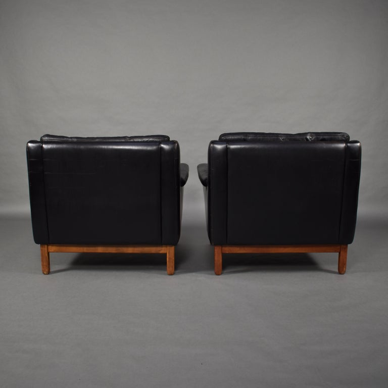 Pair of Danish Black Leather Club Lounge Chairs, circa 1950 In Good Condition For Sale In Pijnacker, Zuid-Holland