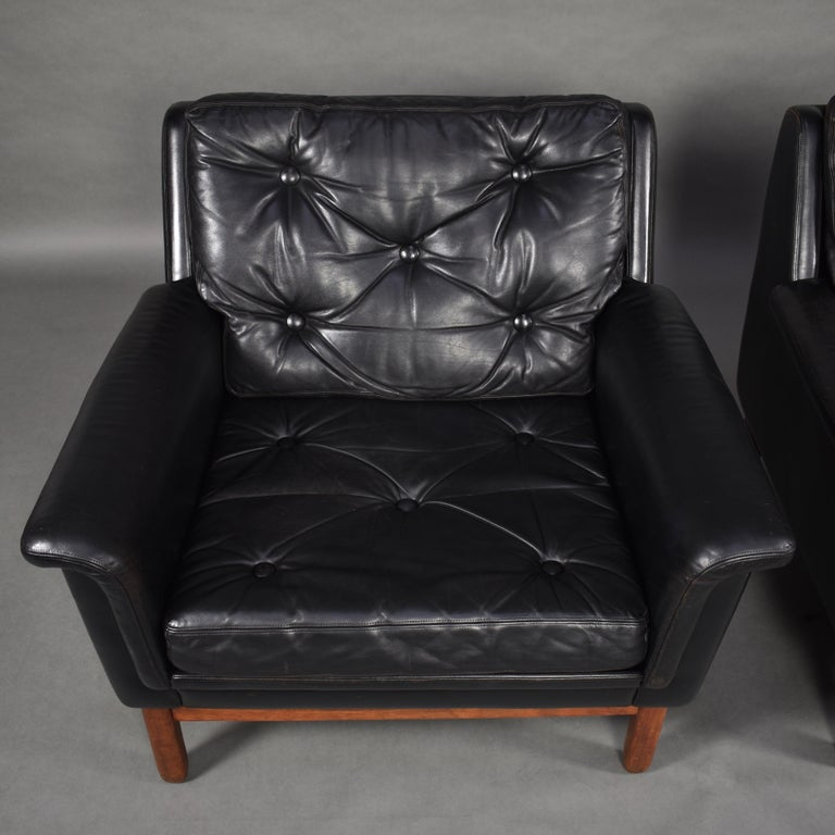 Pair of Danish Black Leather Club Lounge Chairs, circa 1950 For Sale 2