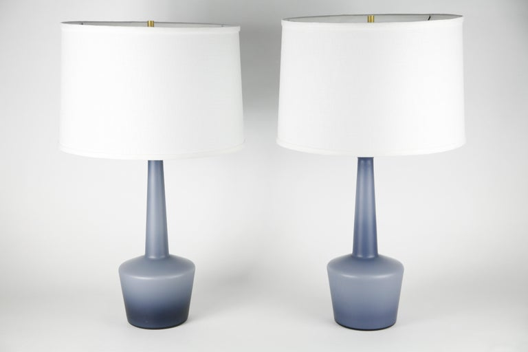 Pair of Danish Blue Kastrup Opaline Glass Lamps, Denmark, 1960 For Sale 5