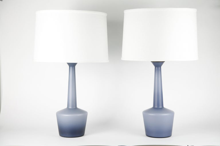 Pair of Danish Blue Kastrup Opaline Glass Lamps, Denmark, 1960 For Sale 6