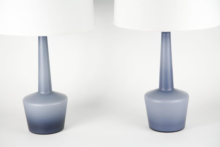 Pair of Danish Blue Kastrup Opaline Glass Lamps, Denmark, 1960 For Sale 7