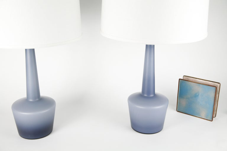 Pair of Danish Blue Kastrup Opaline Glass Lamps, Denmark, 1960 For Sale 9