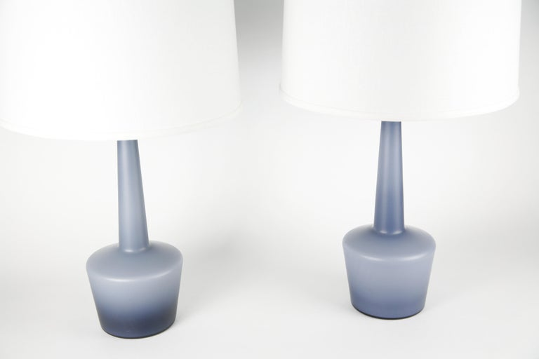 Frosted Pair of Danish Blue Kastrup Opaline Glass Lamps, Denmark, 1960 For Sale