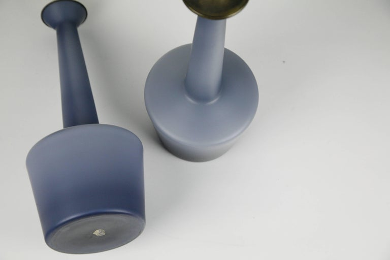 Pair of Danish Blue Kastrup Opaline Glass Lamps, Denmark, 1960 For Sale 2