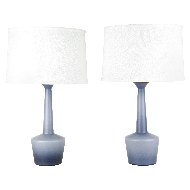 Pair of Danish Blue Kastrup Opaline Glass Lamps, Denmark, 1960