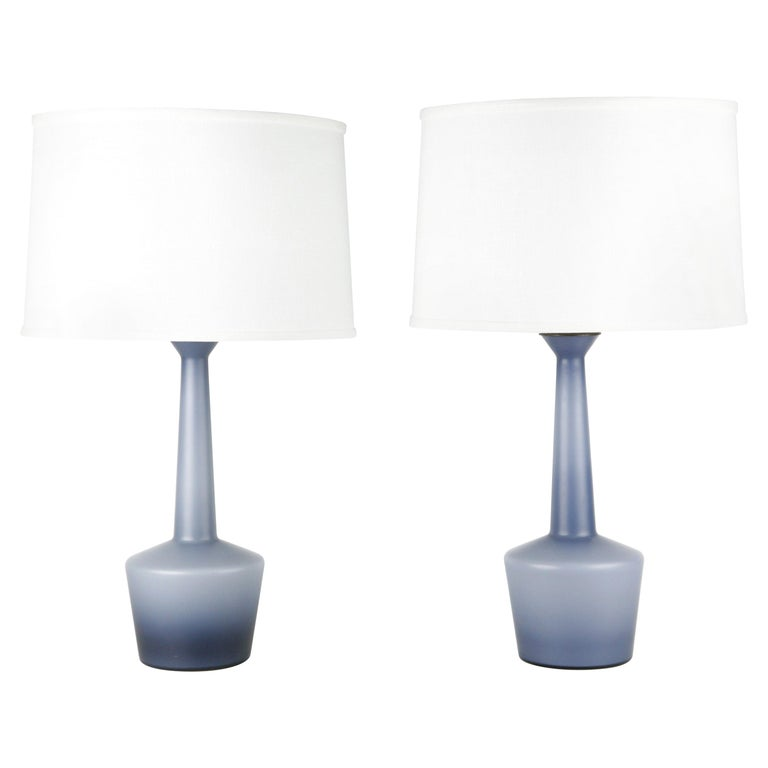 Pair of Danish Blue Kastrup Opaline Glass Lamps, Denmark, 1960 For Sale