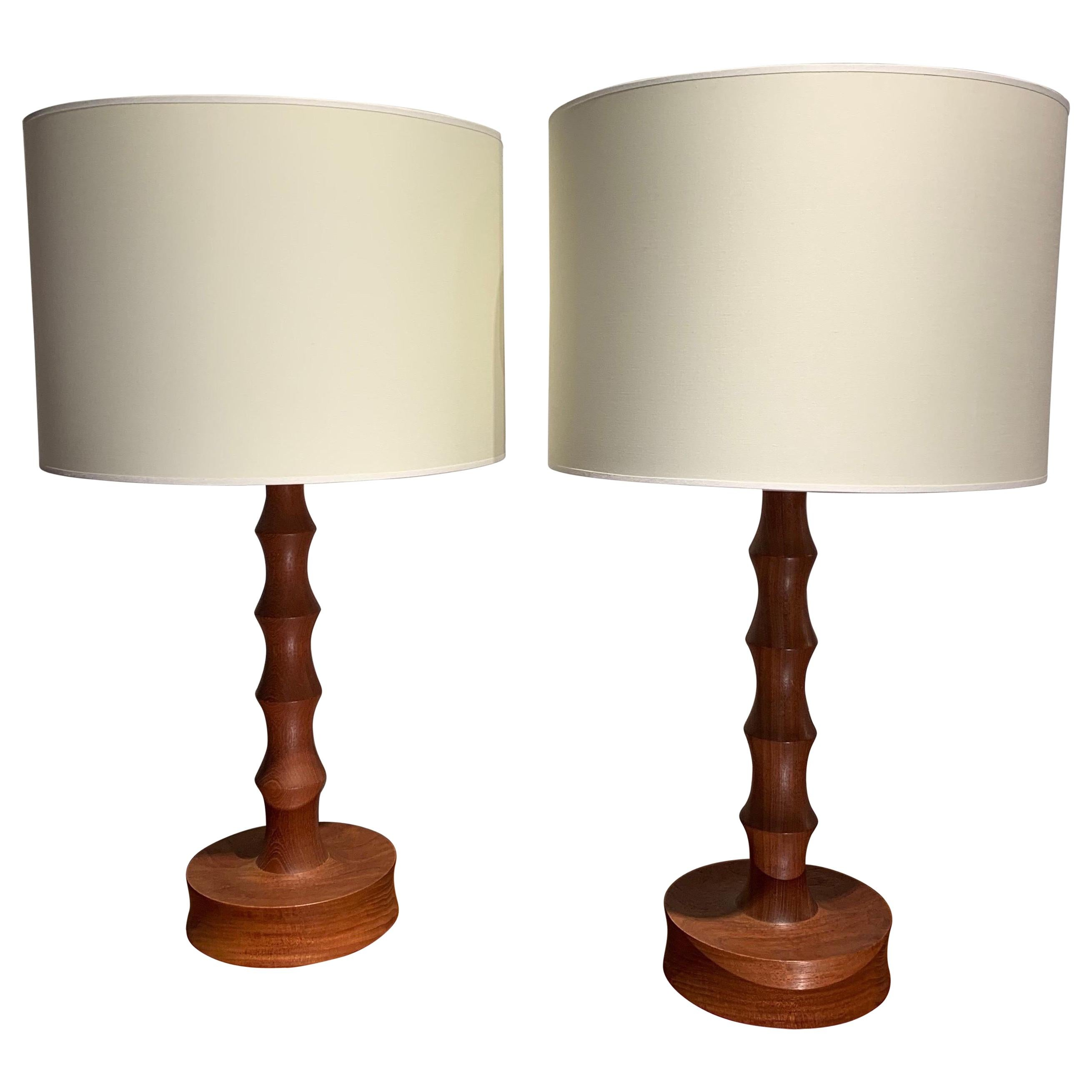 Pair of Danish Brutalist Wood Table Lamps, 1970s