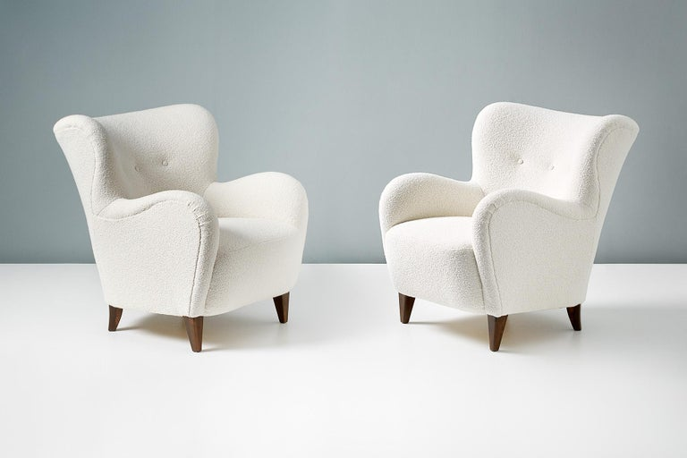 Mid-20th Century Pair of Danish Cabinetmaker 1940s Boucle Armchairs For Sale