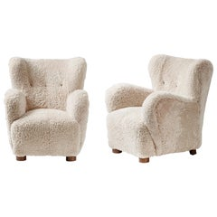 Pair of Danish Cabinetmaker 1940s Sheepskin Armchairs