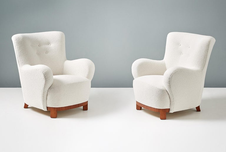 Mid-20th Century Pair of Danish Cabinetmaker 1950s Boucle Armchairs For Sale