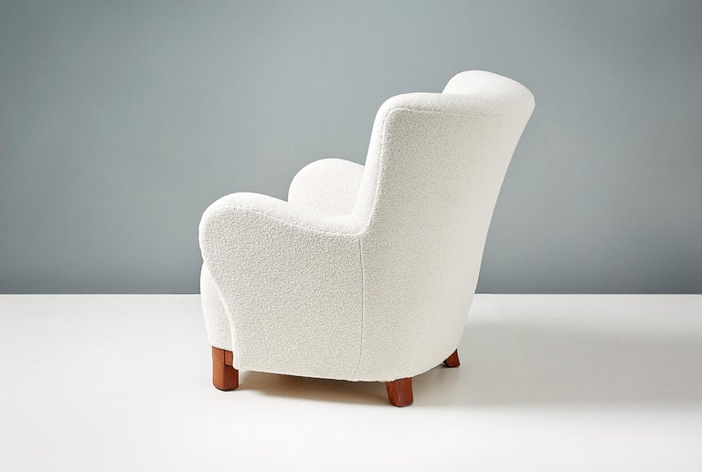 Pair of Danish Cabinetmaker 1950s Boucle Armchairs For Sale 1