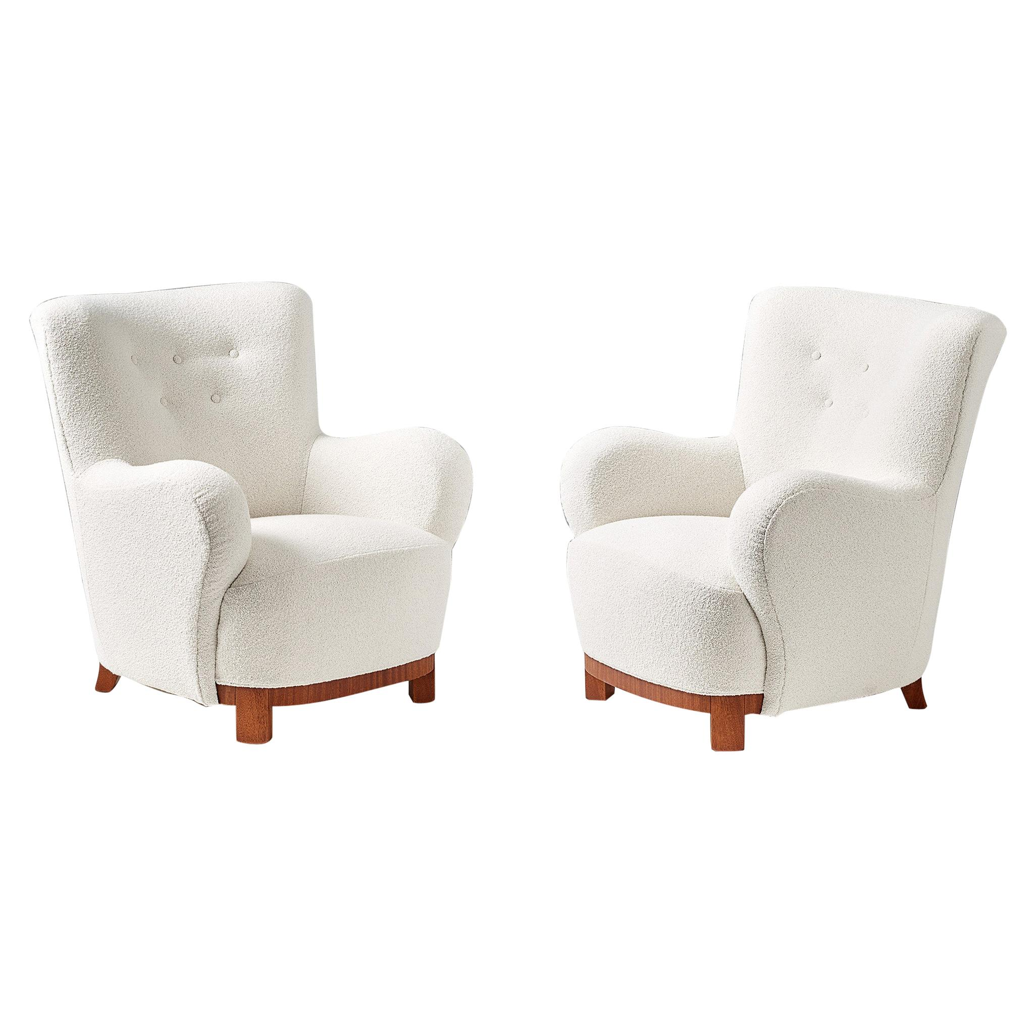 Pair of Danish Cabinetmaker 1950s Boucle Armchairs