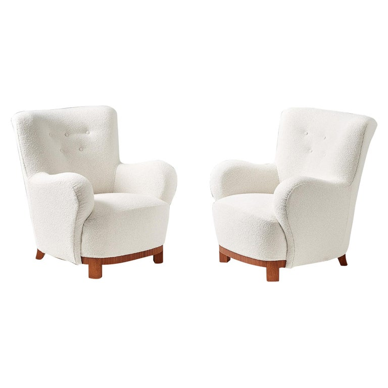 Pair of Danish Cabinetmaker 1950s Boucle Armchairs For Sale