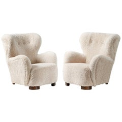 Pair of Danish Cabinetmaker 1950s Sheepskin Armchairs