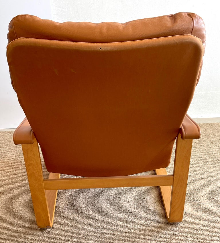 Pair of Danish Cognac Leather Club Chairs, circa 1960s For Sale 4