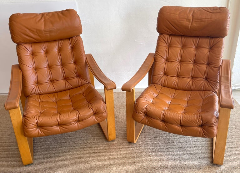 Modern Pair of Danish Cognac Leather Club Chairs, circa 1960s For Sale