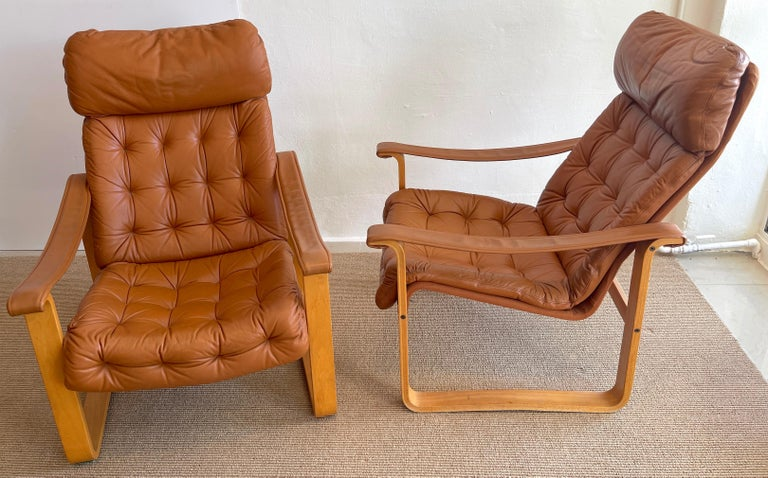 Finnish Pair of Danish Cognac Leather Club Chairs, circa 1960s For Sale