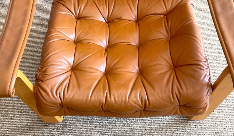 Pair of Danish Cognac Leather Club Chairs, circa 1960s For Sale 1