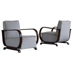 Pair of Danish Curved Art Deco Lounge Chairs, Armrest in Mahogany, 1930s