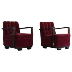 Pair of Danish Curved Art Deco Lounge Chairs, Armrest in Stained Beech, 1930s