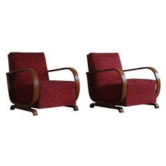 Pair of Danish Curved Art Deco Lounge Chairs, Armrest in Walnut, 1930s
