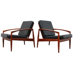 Pair of Danish Design Paper Knife Lounge Chairs by Kai Kristiansen in Teak Black