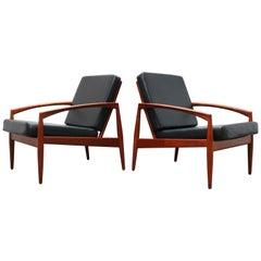 Pair of Danish Design Paper Knife Lounge Chairs by Kai Kristiansen in Teak Black