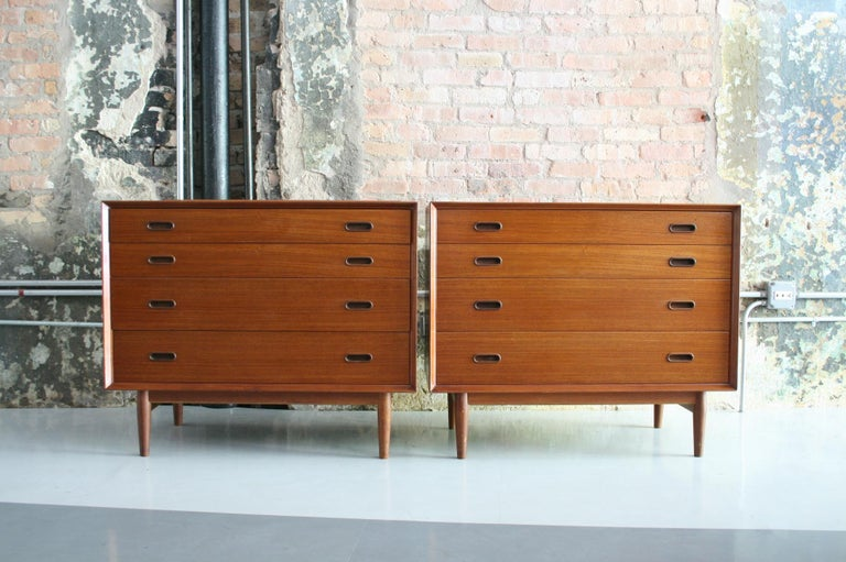 Scandinavian Modern Pair of Danish Dressers or Chests by Arne Vodder for Sibast Mobelfabrik, Denmark For Sale
