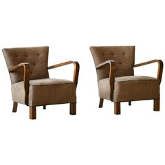 Pair of Danish Early Midcentury or Art Deco Low Lounge Chairs in Mahogany, 1940s