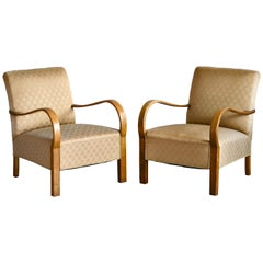 Pair of Danish Early Midcentury or Art Deco Low Lounge Chairs in Oak