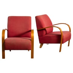 Pair of Danish Early Midcentury or Art Deco Style Low Lounge Chairs