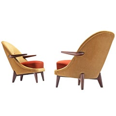 Pair of Danish Easy Chairs in Reupholstered Dedar Velvets