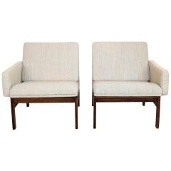 Pair of Danish Easy Chairs in Rosewood Ole Gjerløv Knudsen & Torben Lind, 1960s